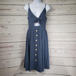 Blue cutout chest bow dress women's large